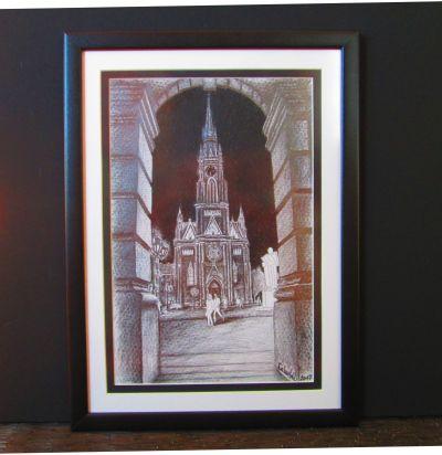 KATEDRALA U NOĆI, olovka na papiru, 35x47cm