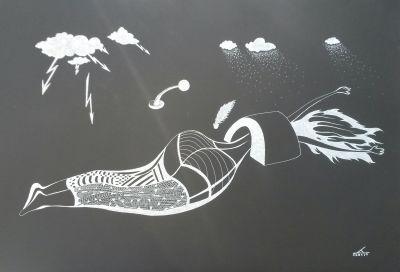 GRMLJAVINA, tuš na papiru, 50x70cm
