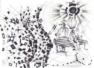 Vizija sna, tuš na papiru, 40x25cm