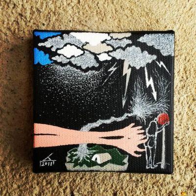 FREE HAND AGAIN 10X10cm Akril na platnu 2018 Privatna kolekcija!!