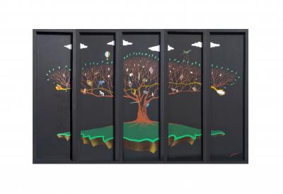 SPASITELJ, 320x190cm, komb. tehn. na panelu, 2019